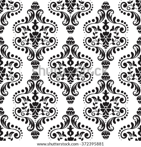 Damascus seamless pattern of floral ornament wallpaper background in vintage style - stock vector