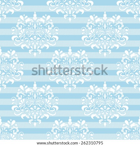 Damask and Stripes Seamless Pattern - stock vector