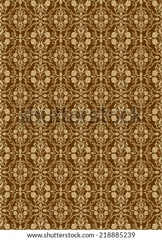 Damask beautiful background, royal, gold luxury floral ornamentation, beautiful fashioned seamless pattern, rich vector wallpaper and wrapping paper, swatch fabric for decoration and design - stock vector