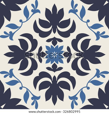 Damask beautiful background with modern ornamentation, blue fashioned seamless pattern, creative vector wallpaper, floral wrapping paper, swatch fabric for decoration and design - stock vector