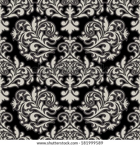 Damask beautiful background with rich, old style, luxury ornamentation, black fashioned seamless pattern, elegant, royal vector wallpaper, floral wrapping paper, swatch fabric for decoration, design - stock vector