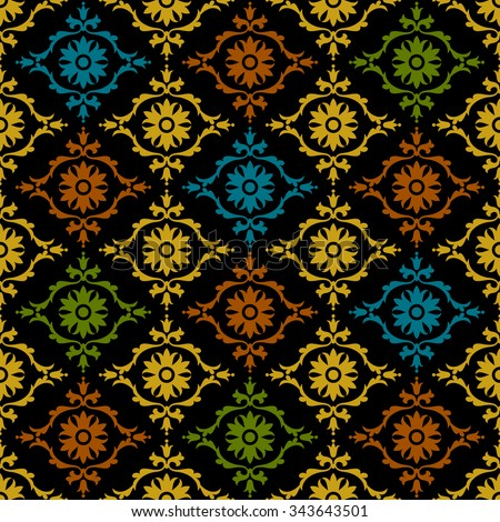 Damask beautiful background with rich, old style, luxury ornamentation, colored fashioned seamless pattern, royal vector wallpaper, floral wrapping paper, swatch fabric for decoration and design - stock vector