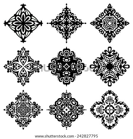 Damask Black Vector Pattern Set of Elegant floral abstract elements