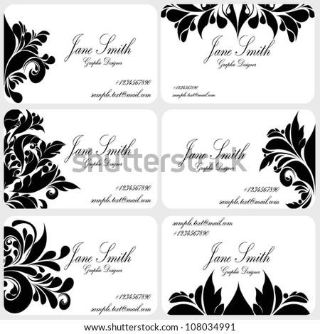 Damask Business Card Set Victorian Business Stock Vector 108034991 ...