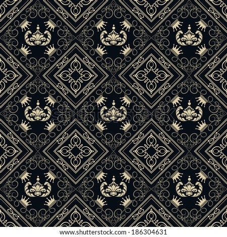damask decorative wallpaper for walls. baroque seamless pattern - stock vector