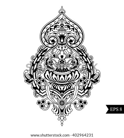 Damask element with bouquet, vase, branches, berries. Classic motif fabric, postcards, greeting, advertising, T-shirts, coloring, menu. Celtic style. Vector design. Flower pattern. Zentangle ornament. - stock vector