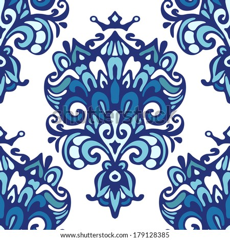 Damask ethnic floral pattern vector - stock vector