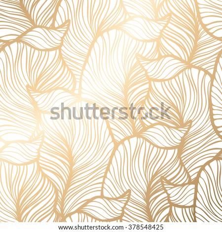 Damask floral pattern. Royal wallpaper. Vector illustration. EPS 10. Gold leaf background - stock vector