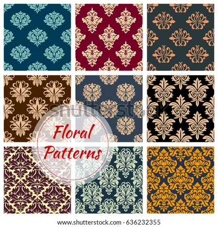 Damask Floral Seamless Vector Patterns Set Of Flower Ornament Tracery.  Luxury Flourish Baroque Flowery Adornment