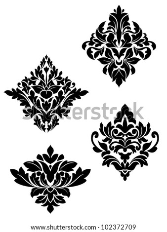Damask flower patterns for design and ornate isolated on white. Jpeg version also available in gallery - stock vector