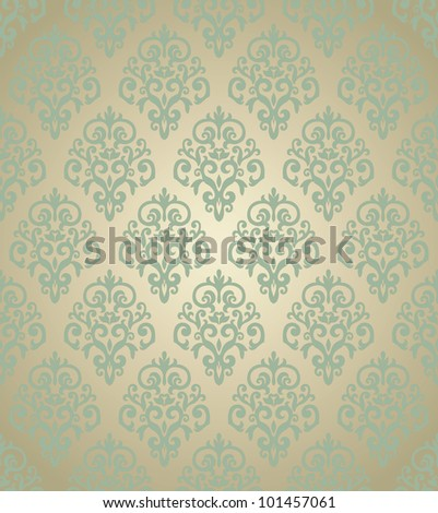 Damask golden wallpaper. Can be used as seamless pattern - stock vector