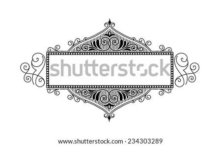 Damask greeting card template with blank text place. Vector illustration. - stock vector