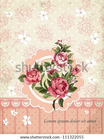 Damask invitation vintage card with floral elements. Beautiful abstract Retro decor illustration. - stock vector