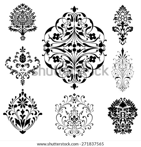 Damask Ornaments - Set of damask ornaments.  Each ornament is grouped individually for easy editing.
