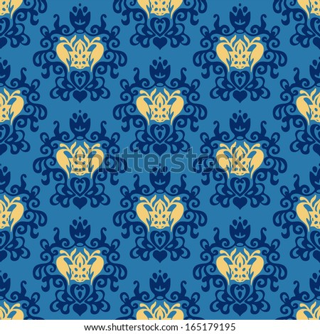 Damask Royal seamless patter vector - stock vector