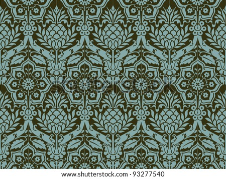Damask seamless background - stock vector
