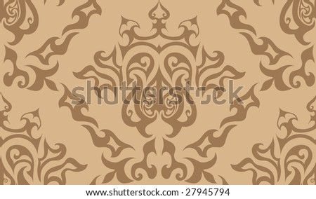 Damask seamless background for yours design use. For easy making seamless pattern just drag all group into swatches bar, and use it for filling any contours.
