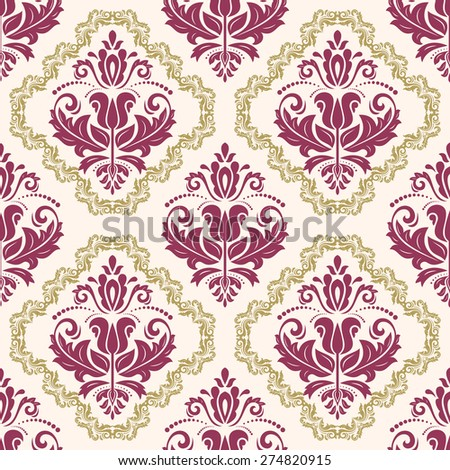 Damask seamless colorful pattern. Fine vector traditional fine ornament with oriental elements - stock vector