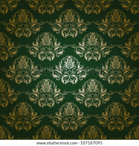 Damask seamless floral pattern. Flowers on a green background. EPS 10 - stock vector