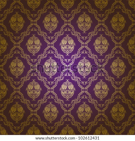 Damask seamless floral pattern. Gold flowers on a purple background. EPS 10 - stock vector