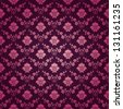 Damask seamless floral pattern. Royal wallpaper. Floral ornaments on a purple background. EPS 10 - stock photo