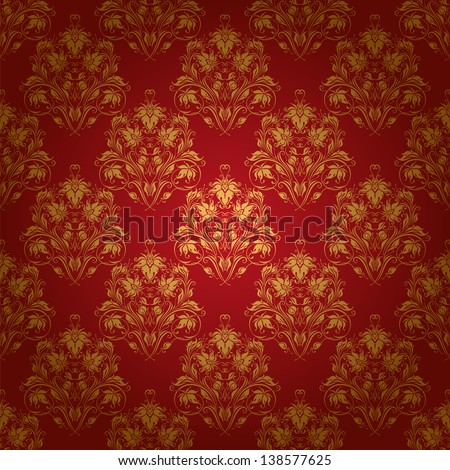 Damask seamless floral pattern. Royal wallpaper. Floral ornaments on a red background. EPS 10 - stock vector