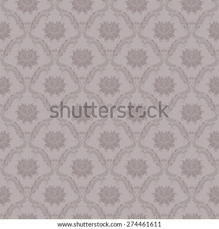 Damask seamless floral pattern. Royal wallpaper. Floral ornaments on gray background. Vector illustration - stock vector