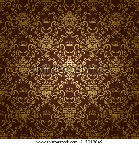Damask seamless floral pattern. Royal wallpaper. Flowers and crowns on a dark background. EPS 10 - stock vector