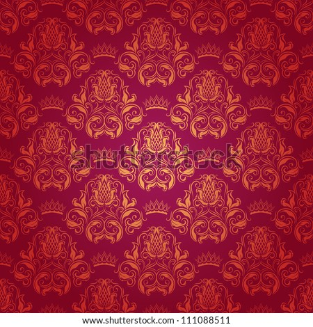 Damask seamless floral pattern. Royal wallpaper. Flowers, crowns on a red background. EPS 10 - stock vector