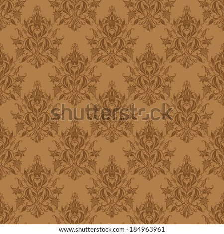 Damask seamless floral pattern. Royal wallpaper. Flowers on a beige background. Vector illustration.