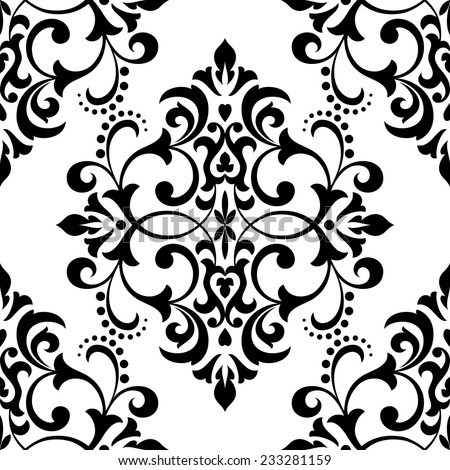 Damask seamless floral pattern. Royal wallpaper. Flowers on a black and white background. - stock vector
