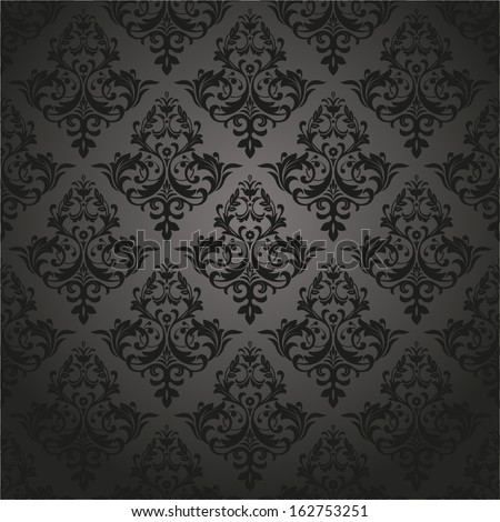 Damask seamless floral pattern. Royal wallpaper. Flowers on a black background.