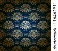 Damask seamless floral pattern. Royal wallpaper. Flowers on a blue background. EPS 10 - stock photo