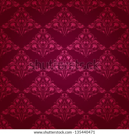 Damask seamless floral pattern. Royal wallpaper. Flowers on a dark background. EPS 10