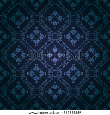 Damask seamless floral pattern. Royal wallpaper. Flowers on a dark background. Vector illustration EPS 10.