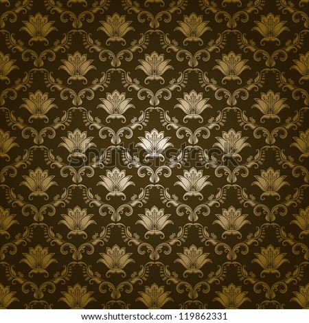 Damask seamless floral pattern. Royal wallpaper. Flowers on a green background. EPS 10 - stock vector
