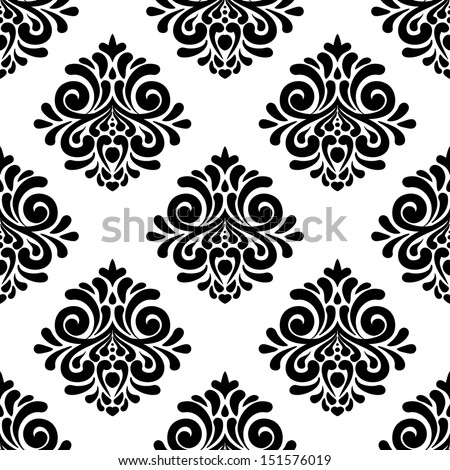 Damask seamless floral pattern. Seamless Pattern With Ornament. Vintage vector illustration. - stock vector