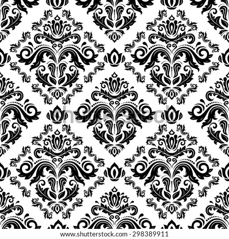 Damask seamless ornament. Fine vector traditional oriental black and white pattern - stock vector