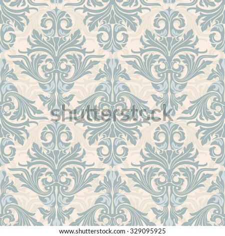 Damask seamless pattern. Background in light blue and beige colors