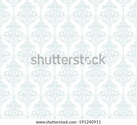 Damask Seamless Pattern Background Pastel Blue And White Vintage For Wedding Design