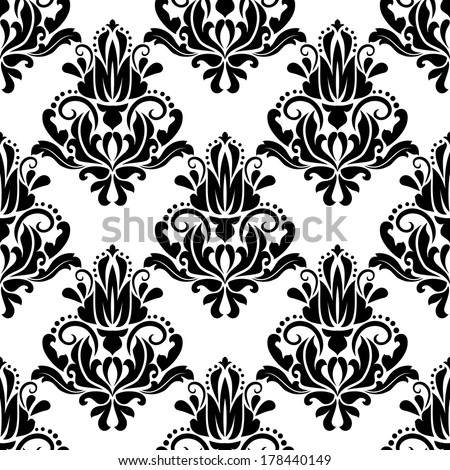 Damask seamless pattern background with black and white decorative elements in retro style - stock vector