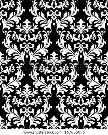 Damask seamless pattern background with decorative floral elements - stock vector