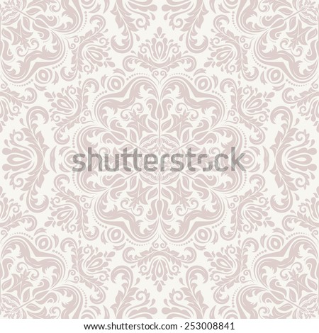 Damask seamless pattern. Fine vector traditional ornament with oriental pink elements - stock vector