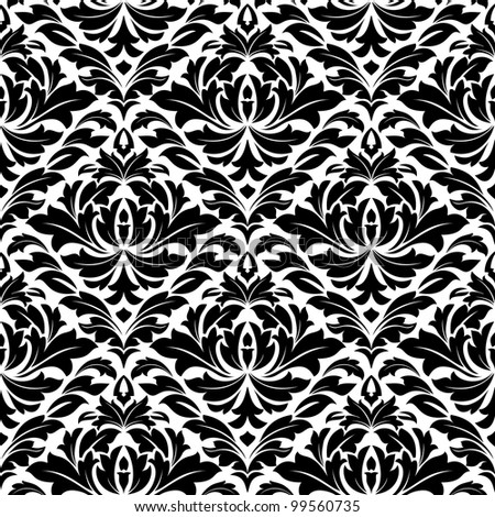 Damask seamless pattern for textile or background design. Jpeg version also available in gallery - stock vector
