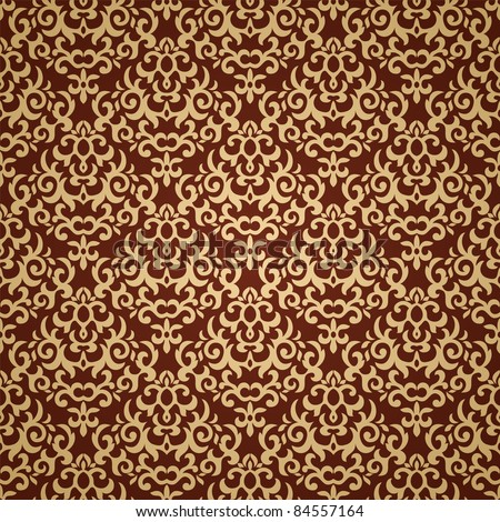 Damask seamless pattern on gradient background. Could be used as repeating wallpaper, textile, wrapping paper, background, etc - stock vector