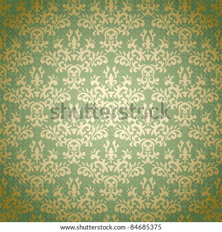 Damask seamless pattern on gradient background stylized like textile. Could be used as repeating wallpaper, textile, wrapping paper, background, etc - stock vector