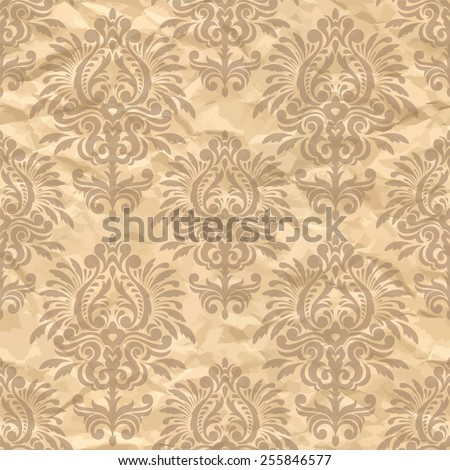 Damask Seamless Pattern On The Crumpled Paper Vintage Wallpaper