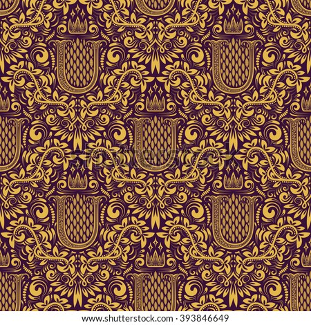 Damask seamless pattern repeating background. Golden purple floral ornament with U letter and crown in baroque style. Antique golden repeatable wallpaper. - stock vector