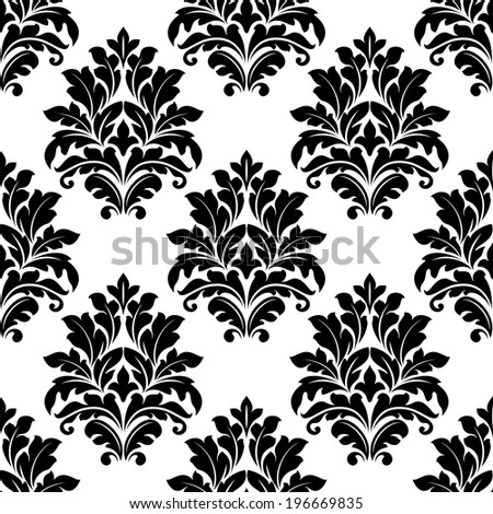 Damask seamless pattern with decorative black motifs for wallpaper and textile design - stock vector