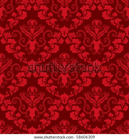 Damask seamless vector background.  For easy making seamless pattern just drag all group into swatches bar, and use it for filling any contours. - stock vector